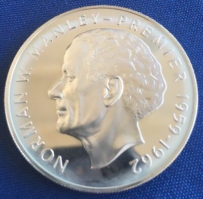 """Jamaica 5 Dollar """"Norman W Manley"""" 1973 Proof Coin; 92.5% Silver"""
