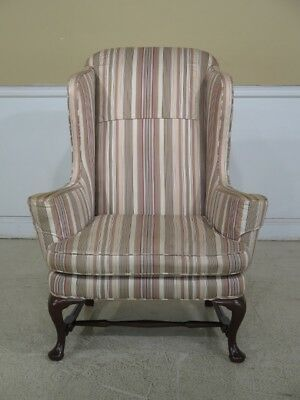 F44643EC: High Quality Queen Anne Stretcher Base Mahogany Wing Chair