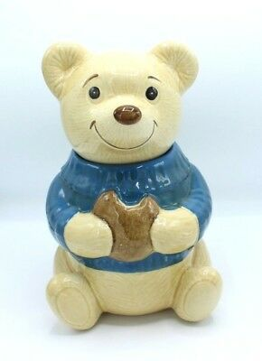 Vintage Metlox Poppy Trail Teddy Bear Blue Sweater Cookie Jar Large Winter Cute