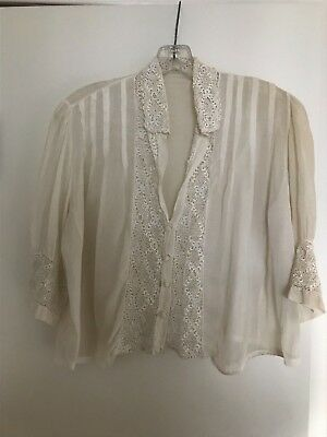 ANTIQUE VICTORIAN / EDWARDIAN COTTON LACE SHEER EMBROIDERED BLOUSE 1900-20s