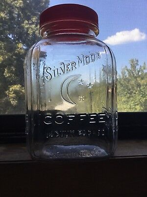 Vintage Silver Moon Coffee 1-pound Net Embossed Glass Jar Memphis With Red Lid