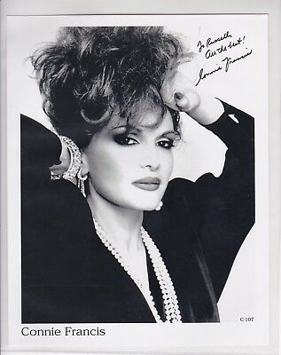 Connie Francis B/W Hand Signed Photo 8x10