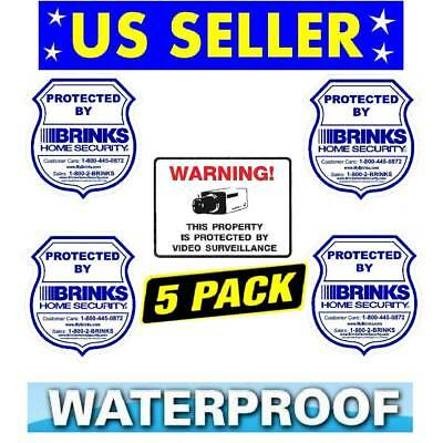 Brinks Home Security Window Warning Stickers+Video Camera Decal Sign