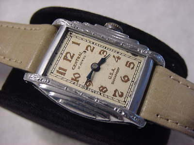 Vintage large antique pre 1920 Art Deco CENTRAL ENGRAVED mens watch