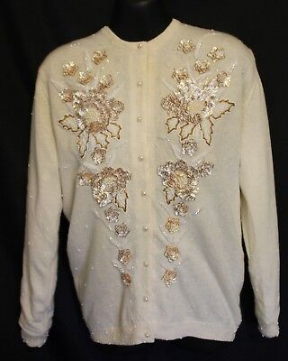 VINTAGE 1950S 60S ~ Cream Wool Cardigan w Gold Pearl Silver Beads Sequins 40 12
