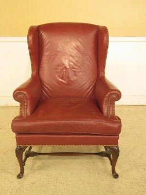 F29585EC: Vintage Queen Anne Mahogany Leather Wing Chair
