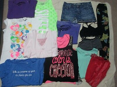 Girls 13 PIECE Clothes Lot JUSTICE Lularoe Size 14 Shorts Tanks Tees & Bralettes