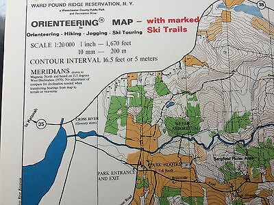 Vintage Pound Ridge Reservation NY Orienteering map 1971 with marked ski trails
