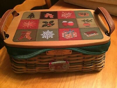 Longaberger 2002 Christmas Traditions Basket Combo Green with tie on -- NICE!