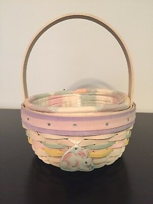 Longaberger Basket 2001 Easter Small Round, Liner, Protector, Bunny Tie-On