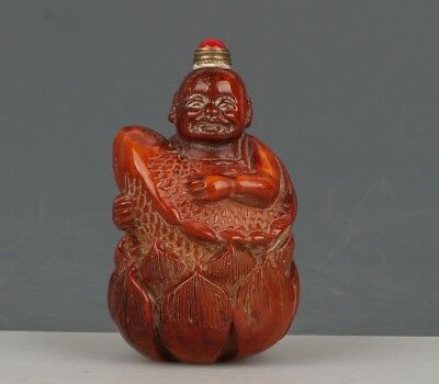 Chinese Exquisite Hand-carved lotus carp child Carving antlers snuff bottle
