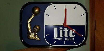 Vintage 1990 Miller Lite Beer Advertising Basketball Clock Sign Collectible