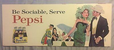 Vintage 1960's Pepsi Be Sociable, Serve Pepsi Costume Party Bus Trolley Sign