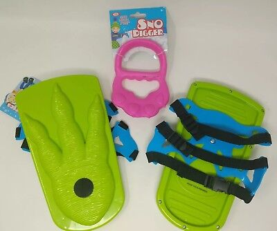 Snow Shoes Green Sno-Stompers Kids Dinosaur Tracks Snow Digger Claw Lot of 3 New