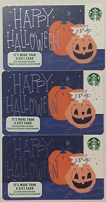 Lot 3 Starbucks Happy Halloween 2018 Recycled Paper Edition gift card set NEW