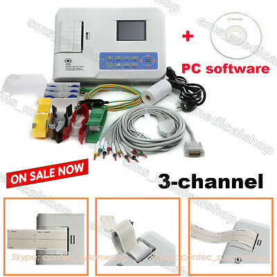 CE 3-channel 12 LEAD color ECG&EKG machine+PC software + printer
