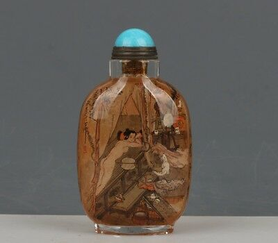 Chinese Exquisite Handmade character Poetry pattern Glass snuff bottle
