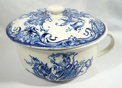 """COLONIAL POTTERY Blue & White CHAMBER POT """"ALBERTA""""  Flow Blue  F Winkle Co"""