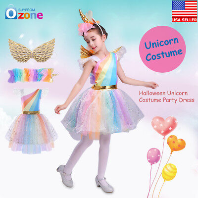 Kids Girls Halloween Unicorn Costume FANCY DRESS Cosplay Party Dress Gift