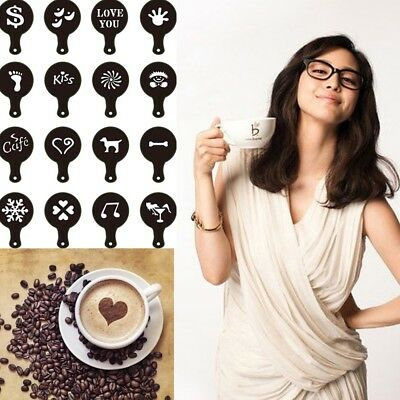 Top Hot Coffee Barista Stencils Template Strew Pad Duster Spray Tools