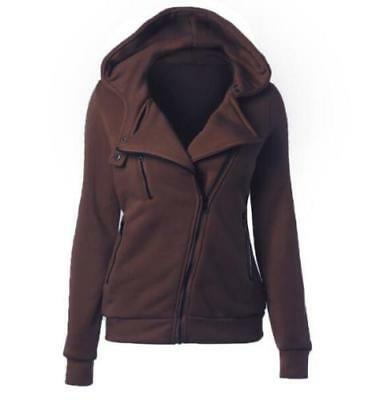 Autumn explosions Women's Diagonal zipper solid color hooded sweater Brown M
