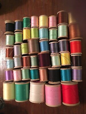 45 Vintage  Wooden Thread Spools Various Labels Colors Bobbin Sewing  Some Full