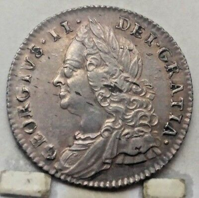 1757 Great Britain 6 Pence Coin A U