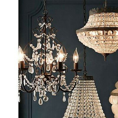 Dining Room Crystal Chandelier Lighting 5 Candle Lights Ceiling Fixture Pendant