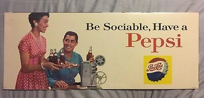 Vintage 1960's Pepsi Be Sociable, Serve Pepsi Movie Party Bus Trolley Sign