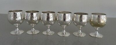 NEW Lovely Set of Six Wine Goblets Silver plated