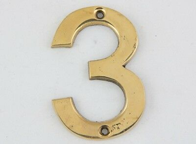 3 Inch Bright Solid Brass Number #4 House Home Address Plaque Sign Four