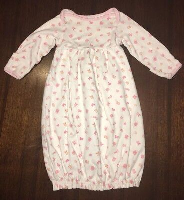 Baby Girl Infant Gown Sleeper 0-3 Months Pink White