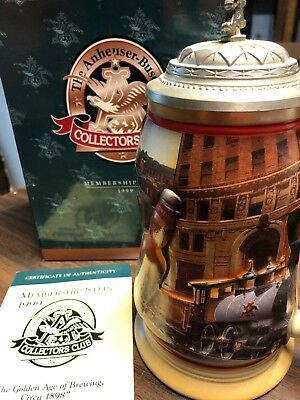 """Anheuser Busch 1999 Membership Stein  With COA """"Golden Age Of Brewing CB10"""