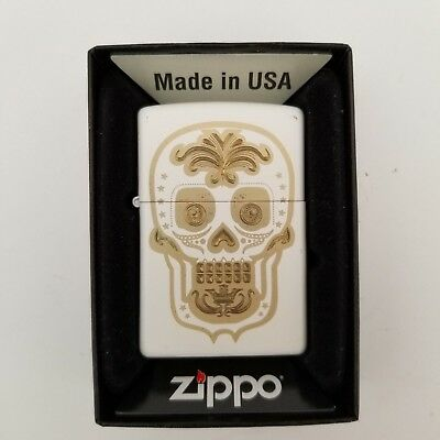 Zippo Sugar Skull Lighter Day of the Dead White Matte and Gold Windproof New