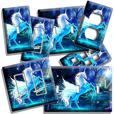 Magical Whimsical Fantasy Blue Unicorn Light Switch Outlet Wall Plate Room Decor