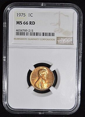 1975 Lincoln Memorial Cent - NGC MS66RD - Gem Uncirculated Red Copper Coin