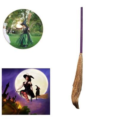 Wicked Witch Broom Straw Broom Extendable Wizard Accessory for Halloween Party