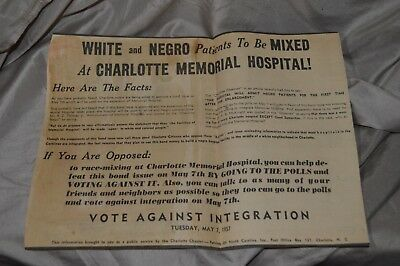 Patriots Of NC Segregation Newspaper Flyer White And Negro Patients To Be Mixed
