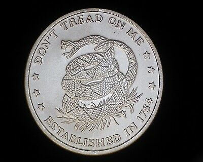 Don't Tread On Me Eternal Vigilance One Troy Oz .999 Silver Art Round
