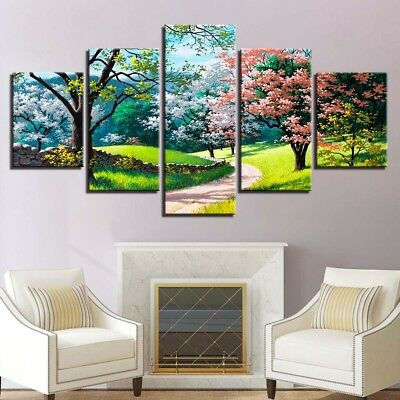 Flower Tree Spring Scenery Canvas Cover Wall Art Picture - Printed Home Decor
