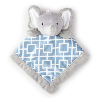 Brand New Levtex Home Baby Elephant Gray and Blue Security Blanket