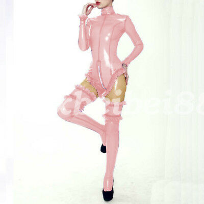 Latex Rubber Gummi Catsuit New Style Pink Ruffle Swimwear and StockingseS-XXL