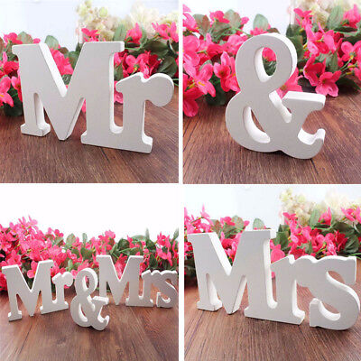 White Mr and Mrs Letters Sign Wooden Standing Top Table Gift Wedding Decor USA