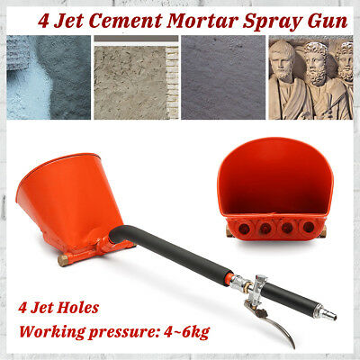 4 Jet Cement Mortar Concrete Air Stucco Sprayer Hopper Wall Plastering Paint Gun