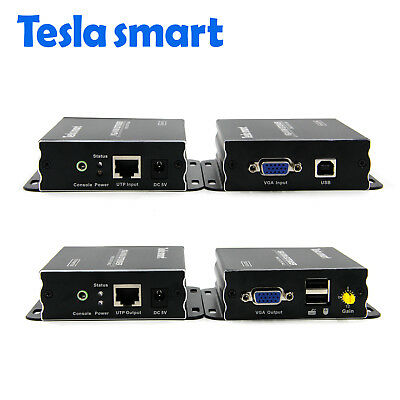1080P VGA Audio Video Extender Over Single Cable with CAT5e/6 1000ft  KVM USB