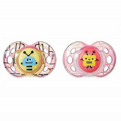 Tommee Tippee Soother Fun Style 6-18m Robot Pink / Pink 1 2 3 6 12 Packs