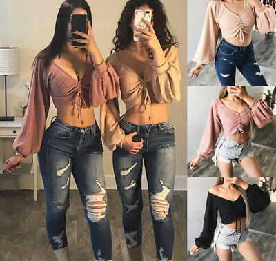 US Women Off Shoulder Top Long Sleeve Pullover Casual Blouse Summer Loose Shirt