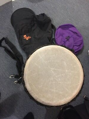 """12"""" Mahogany Pro Djembe, Carrying Case, Strap &Cover 550$+ new from Three Worlds"""