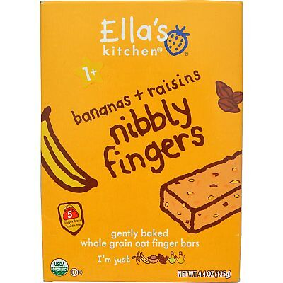 Ella's Kitchen, Nibbly Fingers, Bananas + Raisins, 5 Bars, 4.4 oz (8 g) Each