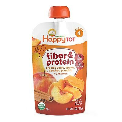 Happy Tot, Fiber & Protein, pears, apples, peaches, pumpkin & cinnamon, Stage 4,